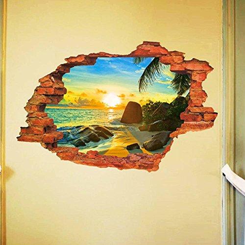 Bigood 3D Imprimé Paysage Autocollant Mural Créatif PVC Décoratif Chambre Salon Style#D