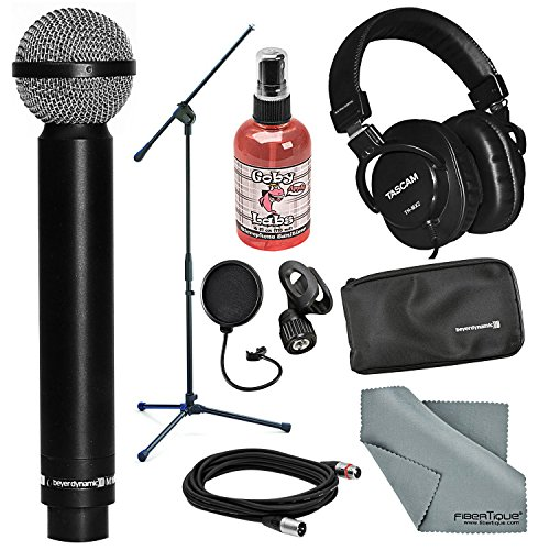 Beyerdynamic M160 Double Ribbon Hypercardioid Microphone and Accessory Bundle with Headphones + Fibertique Cloth + More