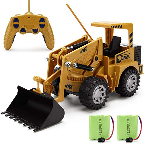 Remote Control Construction Toy - RC Bulldozer 1/24 Front Loader RC Tractor, Vehicles with 2 Rechargeable Batteries, Pretend Construction Playset, Toys for 3, 4, 5, 6 Years Old Boys Girls Kids Gift
