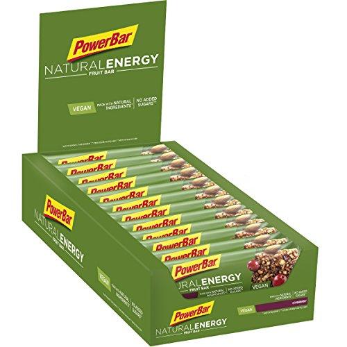 PowerBar Natural Energy Fruit Cranberry 24x40g - Veganer Kohlenhydrat Energie Riegel + Magnesium