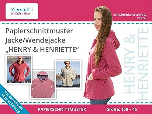 Zierstoff einfach nähen PAPIERSCHNITTMUSTER, Schnittmuster für eine Jacke oder Wendejacke Henriette, Gr. 158 bis 46