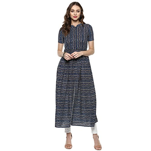 Indian Virasat Blue printed front slit kurta