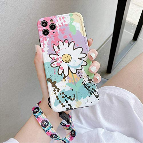 Cute Daisy Flower with Lanyard Phone case For iphone 11 Pro max 7 8 plus X XR XS Max SE 2020 Back Cover Fashion Graffiti Capa For-iphone SE 2020 2Y239-2