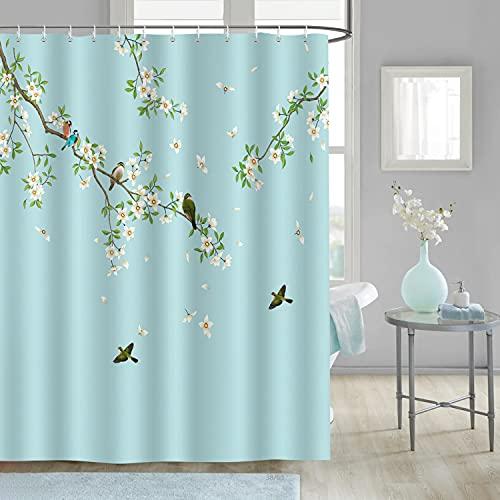 Bonhause Duschvorhang 180 x 180 cm Vögel & Weiße Blüte Blumen Duschvorhänge Anti-Schimmel Wasserdicht Polyester Stoff Waschbar Bad Vorhang für Badzimmer mit 12 Duschvorhangringen