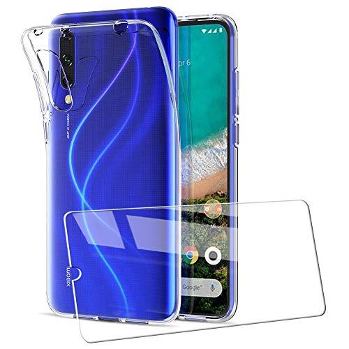UCMDA Cover per Xiaomi Mi 9 Lite + Pellicola Protettiva in Vetro Temperato, Custodia Trasparente Morbida in Silicone, Pellicola Protezione Schermo in Vetro Temperato per Xiaomi Mi 9 Lite