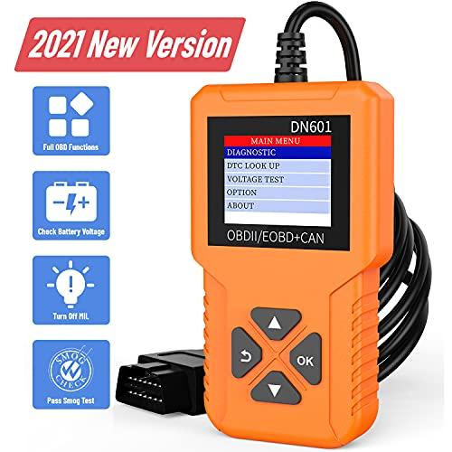 Dnose ND601 Car Code Reader&12V Battery Voltage Tester 9 Modes OBD2 Scanning Tool Universal Auto OBDII Scanner Check Engine Light for Cars After 1996[2021 New Version]