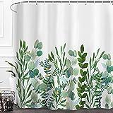 Baccessor Botanical Shower Curtain Green Leaf Watercolor Floral Plant Pattern Decorative Bath Curtain Waterproof Fabric Bathroom Curtain with Hooks, 72' x 72' (Eucalyptus Leaf 1)