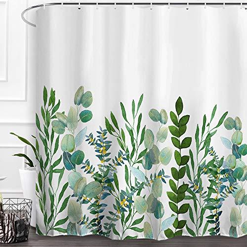 "Baccessor Botanical Shower Curtain Green Leaf Watercolor Floral Plant Pattern Decorative Bath Curtain Waterproof Fabric Bathroom Curtain with Hooks, 72"" x 72"" (Eucalyptus Leaf 1)"
