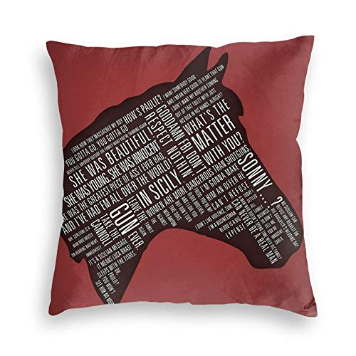 Lhgs5sv Godfather - Horses Head Quotes Print Velvet Throw Pillow Covers Both Sides Sofa Square Cushion Cover Pillow Case with Zipper 18x18inch
