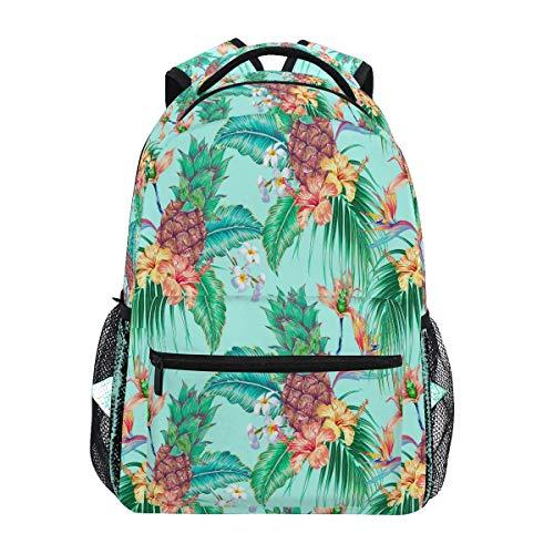 Summer Pineapple Flamingo Backpack Bookbags Daypack Bags Water Resistant, Tropical Palm Leaf Floral Bag Mini Backpack Purse Travel Sports BAG-083
