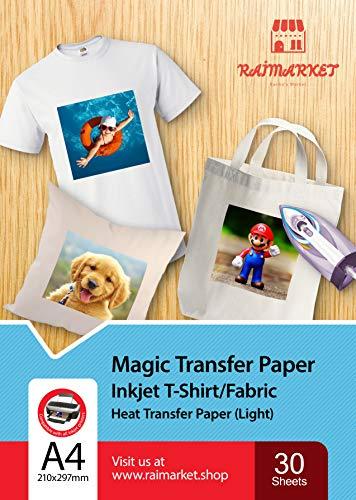 Transferpapier/Bügelpapier/Transferfolie für HELLE Textilien/Stoffe von Raimarket | 30 Blatt | A4 Inkjet Bügeleisen auf Papier / Transferfolie / T-Shirt-Transfers | Textilefolien | DIY Stoffdruck (30)