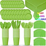 HeroFiber Disposable Paper Dinnerware for 24 - Lime Green - 2 Size Plates, Cups, Napkins , Cutlery (Spoons, Forks, Knives), and tablecovers - Full Party Supply Pack