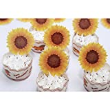 GEORLD Edible Cake Topper Wafer Sunflower Cupcake Decoration by Wafer Paper,36 Counts,Flat not 3D
