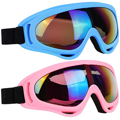 ELECOOL Ski Goggles 2 Packs, Multicolor Lenses Snow Goggles with Wind Dust UV 400 Protection for Women Men Kids Girls Boys Winter Snowboard Snowmobile Skiing