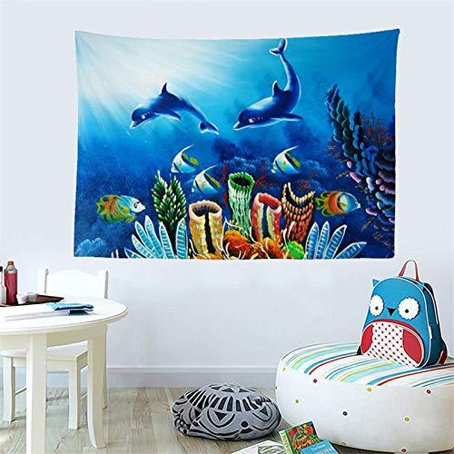 JXWR Mundo Submarino Tapiz Colgante de Pared estética Hippie Tapiz Toalla de Playa mantón Manta decoración del hogar 150x130 cm