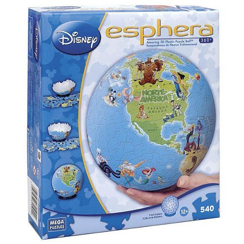 "Esphera 360 9"" 540 Pieces Amazing 3D Plastic Puzzle Ball Globe ""World of Disney"" by Mega Brands"