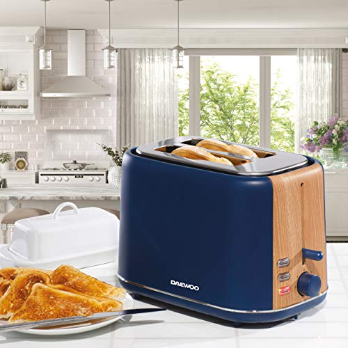 Daewoo Stockholm 2 Slice Wood Effect Toaster - Navy Blue