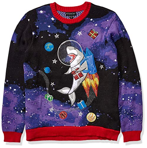 Blizzard Bay Men's Ugly Christmas Sweater Light UP, Purple, X-Large