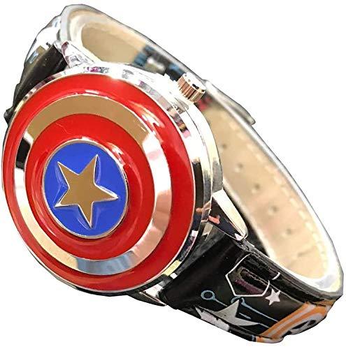 GLX Kinder Uhr, Captain America Flip-Top Simulation Quarz-Uhr, Lederband, Boy Zeit Lehrer Spielzeug-Uhr,Schwarz