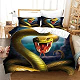 3D Printed Pattern Cotton Quality Soft Duvet Cover Set for Teen Adults,Bedding Set with 2 Pillowcases,100% Microfiber Duvet Cover Double Size 79 x 79 Inch(Yellow Snake )