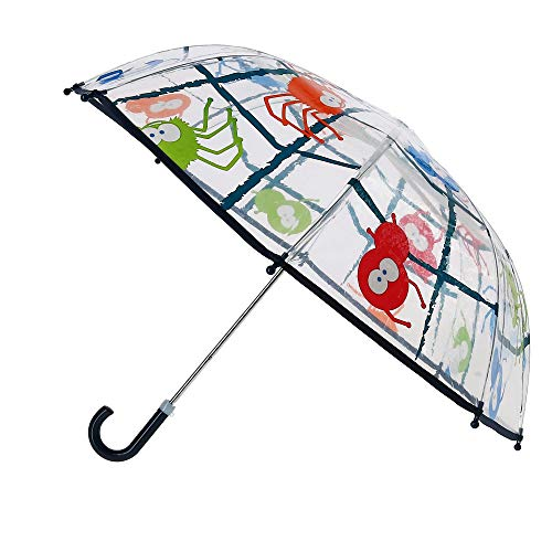CTM Kid's Spider and Web Print Bubble Stick Umbrella, Clear