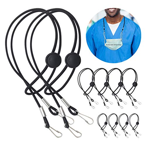 Adjustable Mask Lanyard, Handy Rest Ear Saver, Mask Lanyard Strap for Kids and Adults, Comfortable Around The Neck Mask Holder with Clip (10 PCS)