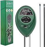 ATUIO - Boden Feuchtigkeit Meter, 3 in 1 Bodentester, Boden Feuchtigkeit und PH, Lichtintensität, [Kann Unter Indoor & Outdoor], [für Pflanzenerde & Bauernhof], [Kein Batterien Erforderlich]