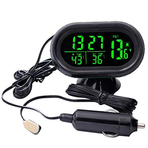 XuBa Thermomètre Digital Horloge de Voiture + Batterie Voltmètre Tension Lumineuse Horloge électronique