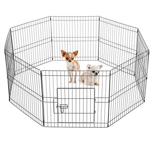 Yaheetech Recinto per Cani Cuccioli Gatti Conigli Animali Domestici da Interno e Esterno Pieghevole Recinzione Rete Metallica 8 Pannelli 61 x 61 cm Nero
