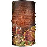 Annays Foulard Bandeau Bandanas Thanksgiving Dinde Vin Rouge Polyvalent Quotidien Coiffures Cou Gaiter Balaclava Doublure De Casque Masque Visage