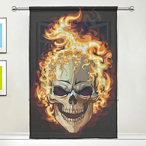 BIGJOKE Fenstervorhang Halloween Sugar Skull Paneele Vorhang Küche Wohnzimmer Dekor Schlafzimmer Büro Voile Vorhang 1 Stück