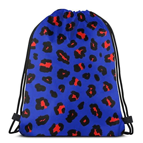 NA- Bolsa De Cuerdas Bolsa Piscina Mochila Con Cordones Para Niños Patrón De Estampado De Leopardo Azul Y Rojo Práctico Cómodo Cordón Robusto Niños Deporte Meriendas Mochila Con Cordones