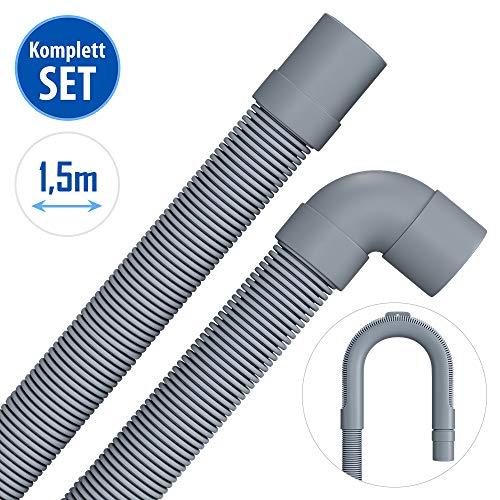 1,5m Ablaufschlauch für Waschmaschine Geschirrspüler Flexibler Abwasserschlauch für Waschmaschine 1,5 m 19/22mm Gerade/Winkelanschluss mit Bügel