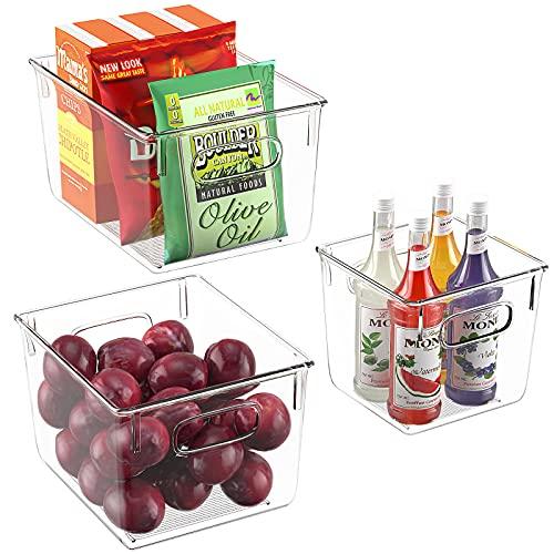 FINEW Kühlschrank Organizer 3er Set, Hochwertige Durchsichtig Aufbewahrungsbox Vorratsschrank küche Behälter, Space Speisekammer Aufbewahrung Organizer für Kühlschrank, Küchen, Schränke - BPA Frei