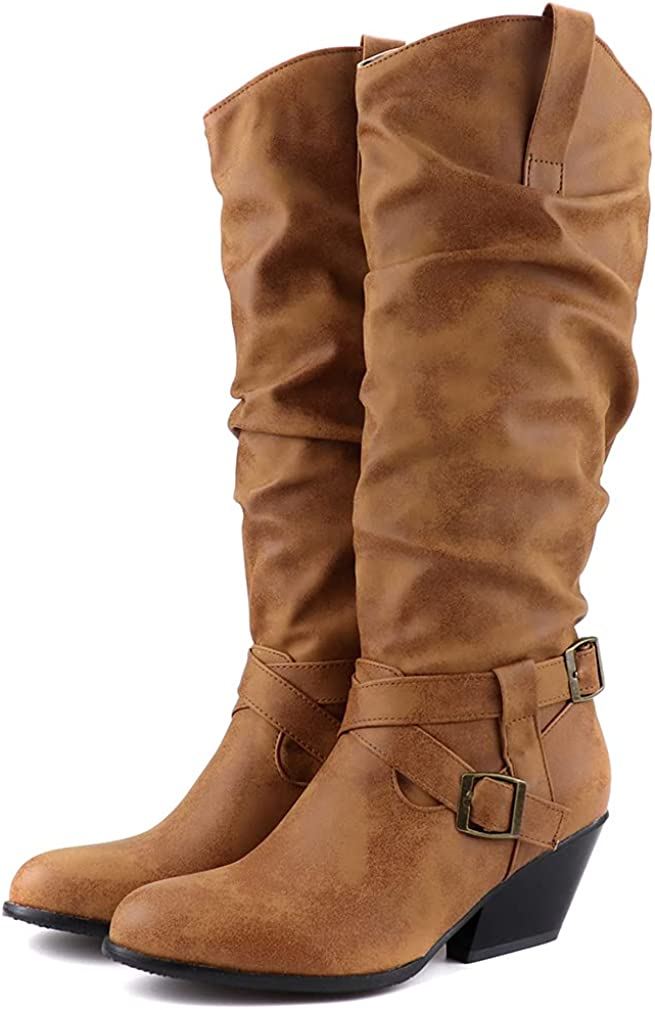 SO SIMPOK Women Buckle Strap Chunky Western Cowboy Cowgirl Boots
