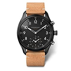 Beige Leather strap Stainless-steel case, Black dial Quartz movement Case diameter: 43mm Water resistant: 100m