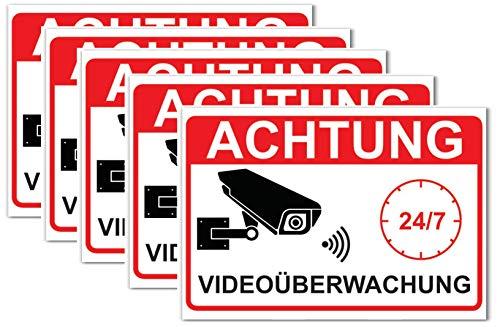 Aufkleber Achtung Videoüberwachung 5 Stück - Sticker Videoüberwacht Kameraüberwachung Überwachungskamera Alarmanlage Alarmgesichert Kamera 14,8 x 10,5cm