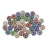 Zhiyi-online Bottoni a forma di girasole con cristalli colorati, con retro piatto, decorazione per cucito, gioielli fai da te, accessori da sposa (colori misti)