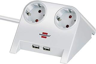 Brennenstuhl Desktop-Power, Stekkerdoos 2-voudig voor de tafel (tafelcontactdoos met 1,8 m kabel, rubberen pootjes en 2-vo...