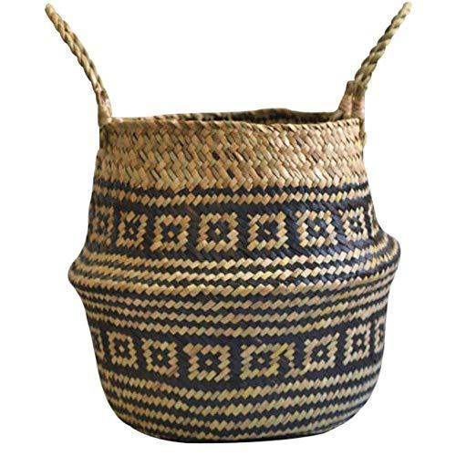 SHUSHI Natural Rattan Wicker Woven Basket, Vintage Foldable Rattan for Plants Flower Planter Toys Laundry Storage Basket with Handle (Size : 27cm)