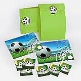 12 Einladungskarten zum Kindergeburtstag für Junge Fussball incl. Umschläge, Tüten, Aufkleber / Fußball bunte Einladungen zum Geburtstag (12 Karten + 12 Umschläge + 12 Party-Tüten + 12...