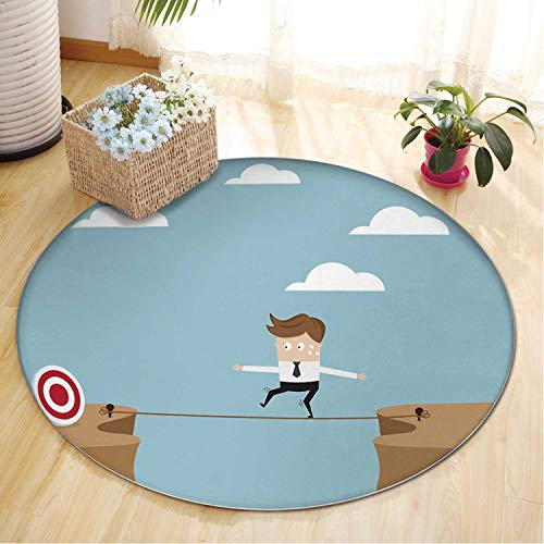 Businessman Walking on Rope at Cliff for Target Area Rugs,082212 Runner Rug for Hallway,5 ft