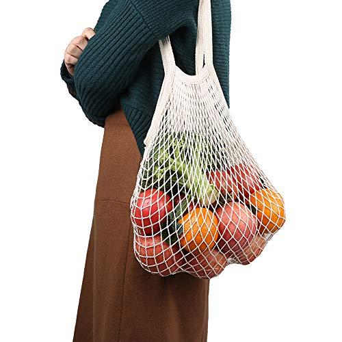 Esonmus - Bolsas reutilizables para productos (2 unidades, algodón natural, se pueden lavar a máquina, malla perfecta, con cordón, para alimentos, compras, frutas, verduras