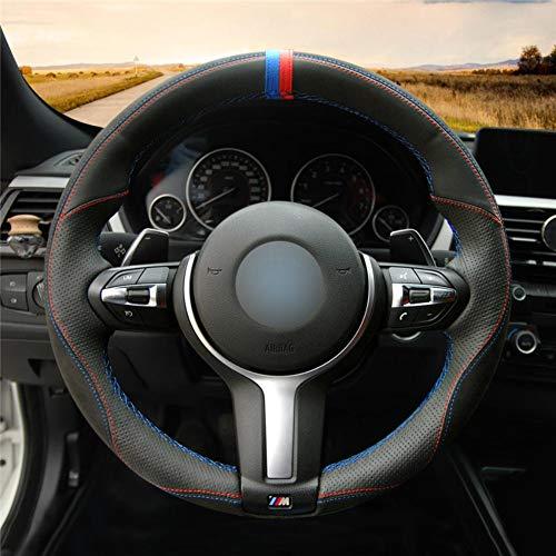 DANDELG Cubierta de Volante de CueroNegro, para BMW M Sport F30 F31 F34 F10 F11 F07 X3 F25 F32 F33 F36 X1 F48 X2 F39