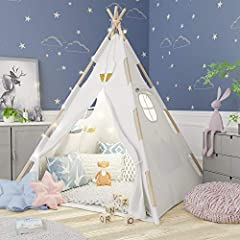 ✅ Our UNIQUELY DESIGNED teepee tent uses BEAUTIFUL KIDDO-SAFE EXPOSED PINE POLES & durable, 100% COTTON MATERIAL to stunningly stand out from the rest. The TWO VENTILATING WINDOWS with CLOSING CURTAINS & CLOSING FRONT FLAP provide hours of independen...