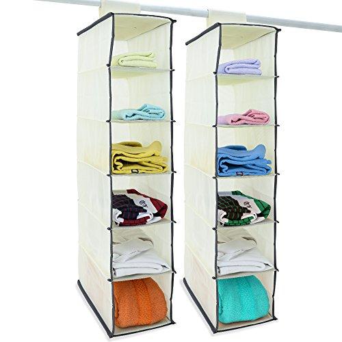 Deuba 2x Hängeaufbewahrung Kleiderschrank Hängeregal, 6 Fächer, 80x15x30cm, Faltbar weiss/Grau Utensilo Organizer Schrank