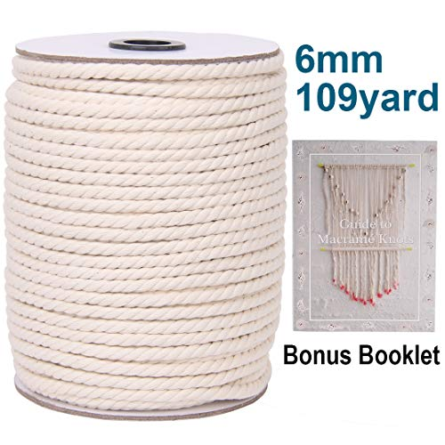 XKDOUS Macrame Cord 6mm x 109Yards, Natural Cotton Macrame Rope, Cotton Cord for Wall Hanging, Plant Hangers, Crafts, Knitting, Decorative Projects, Soft Undyed Cotton Rope