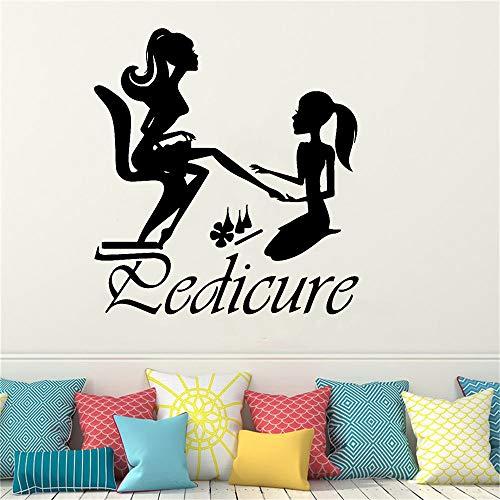 Tianpengyuanshuai Weibliche Pediküre Vinyl Wandaufkleber Beauty Salon Wandtattoo 43X46cm