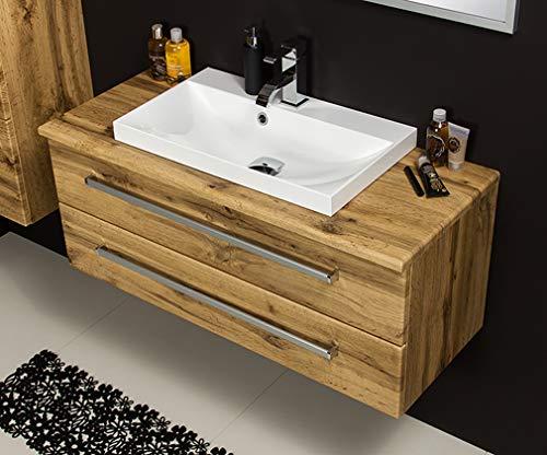 Quentis Badmöbel Susan, Breite 100 cm, Holzdekor Eiche Natur, Waschbecken, Waschtischplatte mit Unterschrank, 2 Schubladen, Softeinzug, Waschbeckenunterschrank montiert