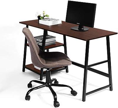 sogesfurniture Writing Computer Desk, Trestle Desk Study Desk, Laptop PC Desk, Workstation with Storage Shelf,BHUS-CS-Tplus (55 inches, Brown)